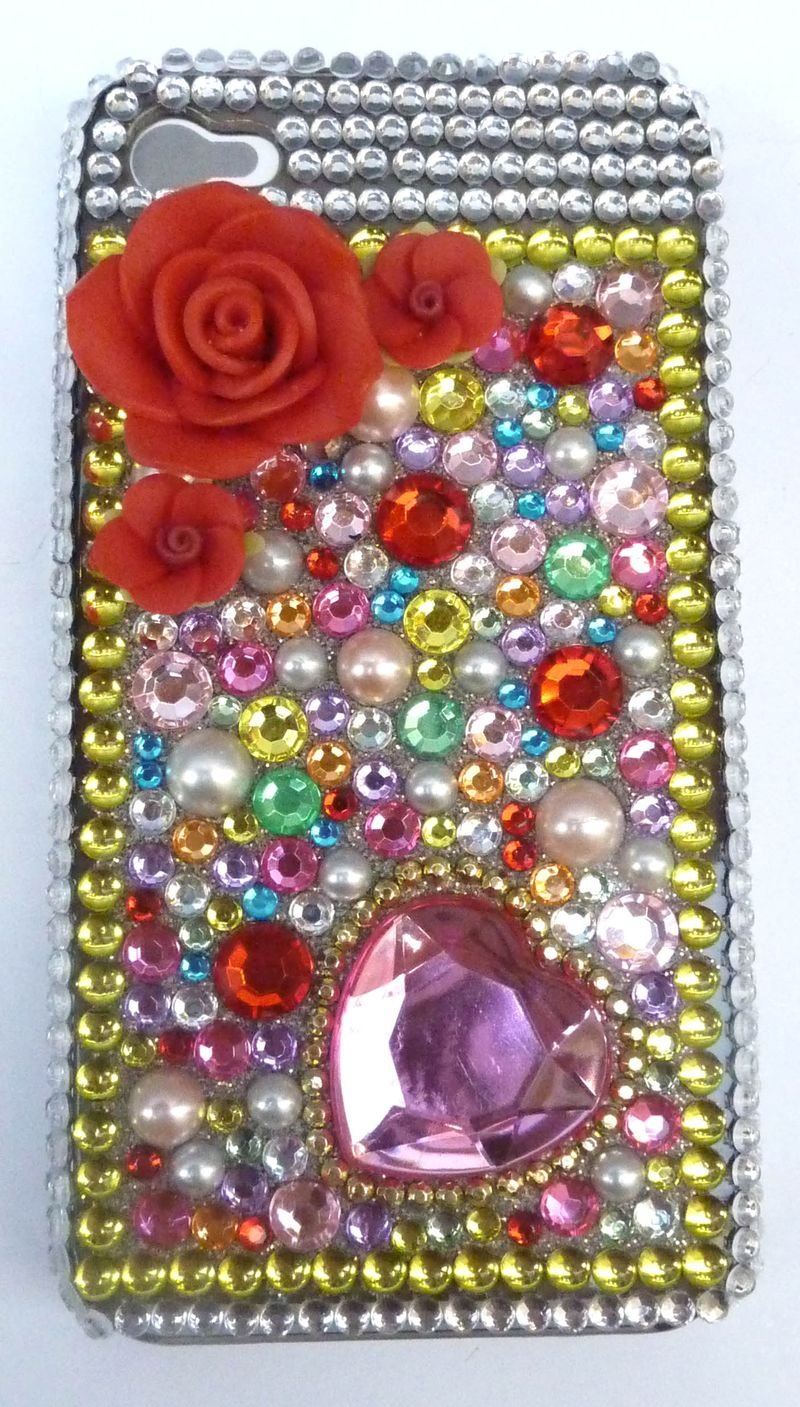Coque iphone  multico rose rouge 4g 1