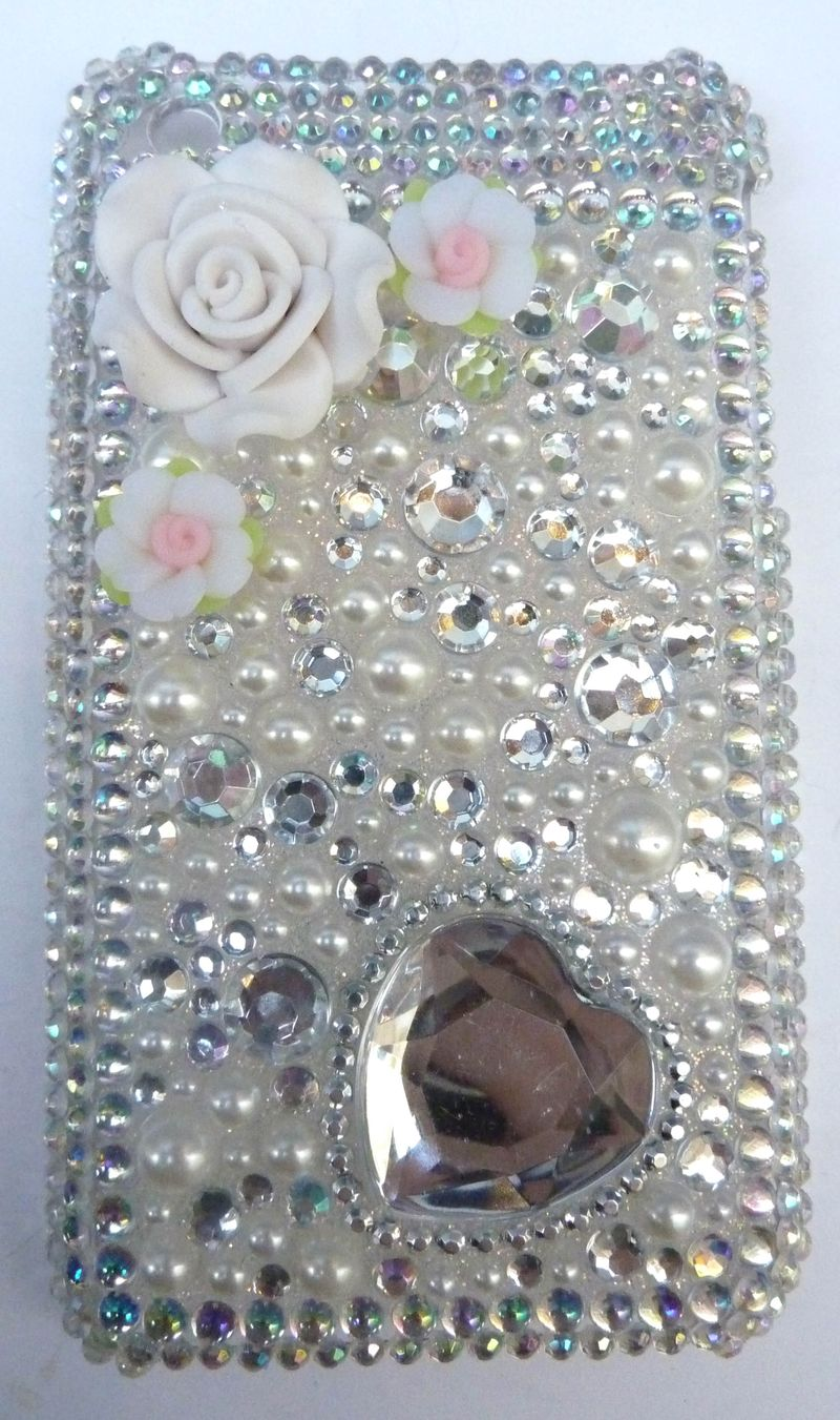Coque iphone  blanc irisé coeur 3g 1